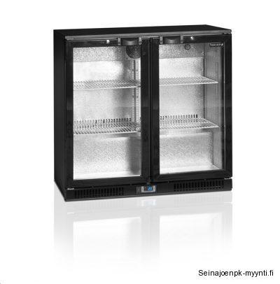 Pariovellinen Backbar kylmäkaappi soveltuu ravintolatiskien, aulabaarien, yökerhojen ja markettien myyntikalusteeksi juomille.