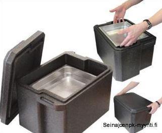 20-litran EPP-termolaatikko Handy on laadukas, kovaa käyttö kestävä, konepestävä, painoltaan kevyt ja GN 1/2 mitoitettu. Handy-termossa on muotoilun ansiosta runsaat tilat käsille GN-vuokien vaivattomaan nostamiseen ja laskemiseen.