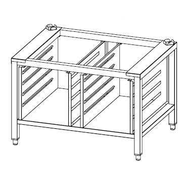jalusta soveltuu ammattikeittiön Primax Nexo NBE-110-HS yhdistelmäuunille. Jalustassa on johteet GN 1/1 astioille.