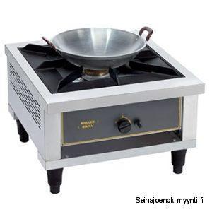 Iso yhden liekin kaasuliesi ravintolakeittiöihin, joka soveltuu erinomaisesti wok-pannuille.