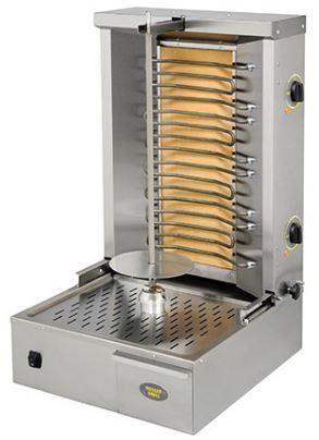 Roller Grill GR 60E on ravintolakäyttöön tarkoitettu kebab-grilli. Laitteen lihakapasiteetti on noin 25 kg ja vartaan pituus 580 mm. Laitteessa on kaksi erikseen säädettävää lämpövyöhykettä ja yläosa on siirreltävissä eteen- ja taaksepäin lihakoon mukaan. Vartaan alapuolella irroitettava ritilä, joka helpottaa puhdistusta. Varustettu ulosvedettävällä rasvakaukalolla.