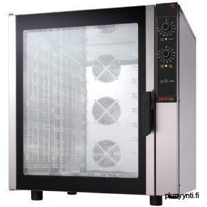 Primax kiertoilmauuni ravintolakäyttöön. EV-UME910-LS mallissa on 10 johdeparia, joissa voi käyttää GN 1/1 mitoitettuja astioita sekä vaihtoehtoisesti 600 x 400 mm mittaisia leipomopeltejä.