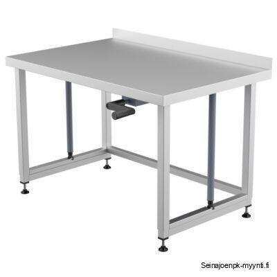 Käsikäyttöisesti korkeussäädettävä pöytä. Valmistaja Restmec.. Valmistettu ruostumattomasta teräksestä.