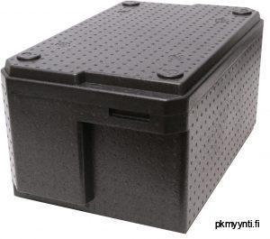 37-litran EPP-termolaatikko Handy on laadukas, kovaa käyttö kestävä, konepestävä, painoltaan kevyt ja GN 1/1 mitoitettu. Termolaatikolla kuljetat lämpimät ruoka-annokset, kylmät elintarvikkeet sekä pakasteet todella helposti ja kätevästi. Handy-termossa on muotoilun ansiosta runsaat tilat käsille GN-vuokien vaivattomaan nostamiseen ja laskemiseen.