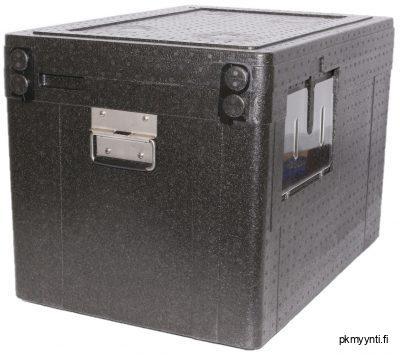102-litran Box 'in Box kuljetuslaatikkoon mahtuu kerrallaan joko yksi Transbox-lihalaatikko ja yksi eineslaatikko tai kolme eineslaatikkoa. Laatikossa on metallikahvat, suljentahakaset, lähetyslistalokero sekä tussitaulu.