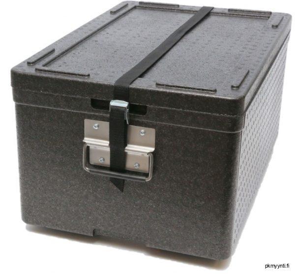 40-litran EPP-termolaatikko on laadukas, kovaa käyttö kestävä, konepestävä, painoltaan kevyt ja GN 1/1 mitoitettu. Termolaatikolla kuljetat lämpimät ruoka-annokset, kylmät elintarvikkeet sekä pakasteet todella helposti ja kätevästi. Laatikossa on tilaa kolmelle GN 1/1, 65 mm -vuoalle. Laatikko on varustettu tukevilla metallikahvoilla ja suljenta-hihnalla.