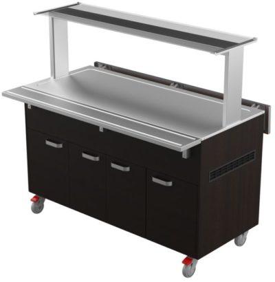 Restmec KTV 4 GN Sushi on kylmätarjoiluvaunu, joka soveltuu ravintolasaliin ja markettiin buffetkalusteeksi kylmille ruoille. Vaunun leveys on 1450 mm.