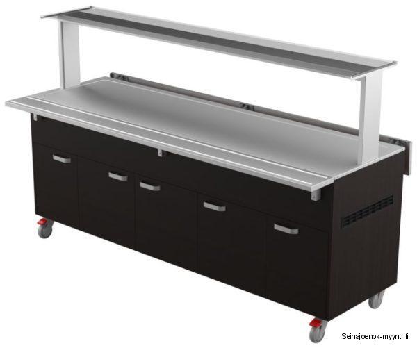 Matalalla altaalla varustettu kylmätarjoiluvaunu Restmec KTV 6 GN Sushi on leveydeltään 2200 mm. Soveltuu erinomaisesti ravintolaan tai markettiin myyntikalusteeksi.