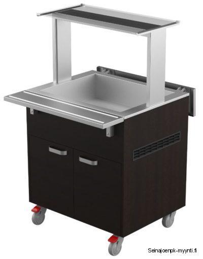 Restmec KTV 2 GN on kylmäallasvaunu ravintoloiden ja ruokaloiden buffet-linjastoon, jonka kapasiteetti on 2 x GN 1/1 astia. Saatavana eri värivaihtoehtoja: wenge (kuvassa), tumma tammi, tammi, pähkinä, pyökki, koivu ja valkoinen. Ulkomitat: (l) 800 x (s) 620 / 980 x (k) 900 mm.