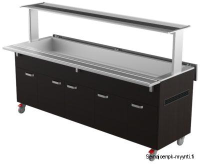 Restmec KTV 6 GN on kylmäallasvaunu, joka on tarkoitettu ravintoloihin ja ruokaloihin. Kylmätarjoiluvaunuun voi sijoittaa muun muassa salaatit ja juomat.