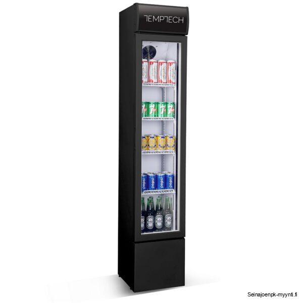 Kapea lasiovellinen kylmäkaappi kahviloihin, ravintoloihin ja myymälöihin