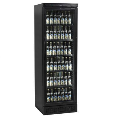 Tefcold CEV425-I on musta lasiovellinen juomakaappi, joka sopii muidenkin tuotteiden myyntikaapiksi. Kahviloihin, ravintoloihin, myymälöihin ja muihin kaupallisiin tiloihin.