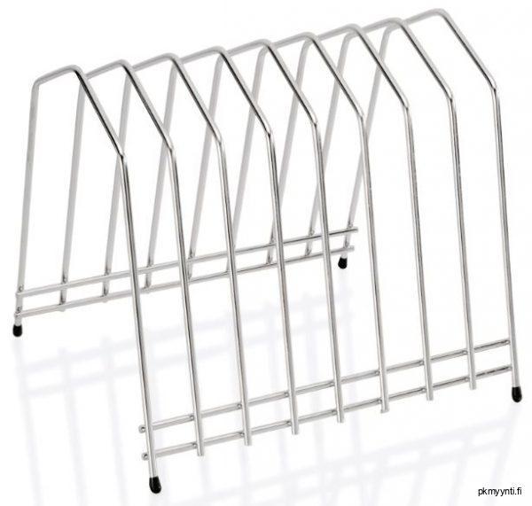Leikkuulautateline soveltuu leikkuulautojen kuivaustelineeksikin, jossa on paikka kahdeksalle leikkuulaudalle. Telineessä on luistonestotassut.