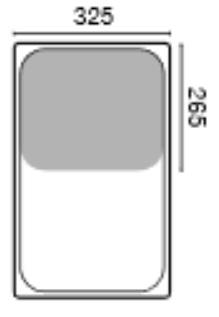 GN 1/2 mitoitettu ruostumattomasta teräksestä olevaa astiaa käytetään ravintolakeittiöissä, suurkeittiöissä ja laitoskeittiöissä.