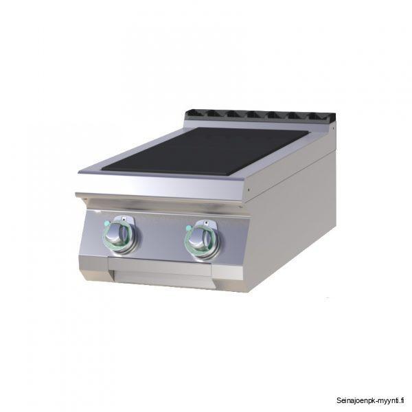 Kahdella 300 x 300 mm levyllä varustettu sähköliesi ravintolakeittiöön.