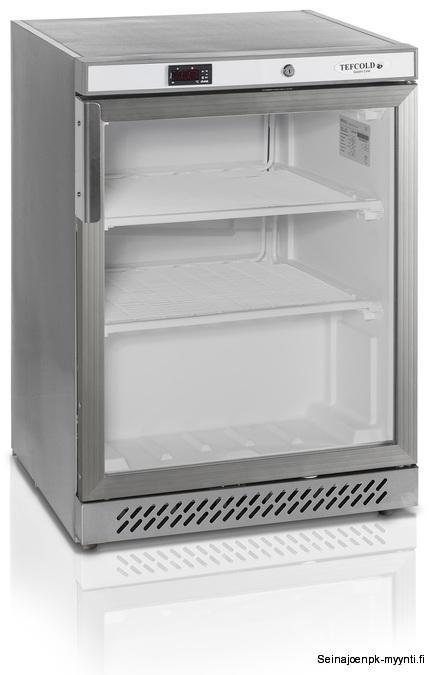 Ravintolakäyttöön tarkoitettu lasiovipakastekaappi Tefcold UF200G. Soveltuu tiskinalle sijoitettavaksi. Ulkomitat: (l) 600 x (s) 600 x (k) 850 mm.