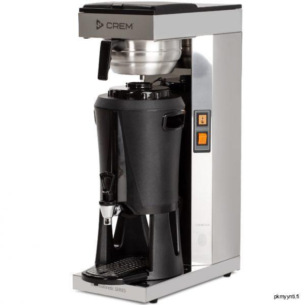 ThermoKinetic Mega Gold keittää kahvin suoraan termossäiliöön, jossa on hana, tippa-allas sekä kahvinmäärän ilmaisin. Termossäiliö sopii ulkonäkönsä puolesta useisiin eri ympäristöihin ja se on nopea sekä helppo käsitellä.