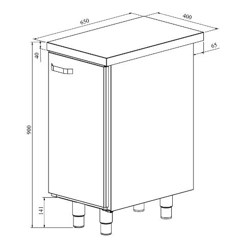 Ruostumattomasta teräksestä valmistetun työpöydän Restmec UB KSK 400 mittapiirros.