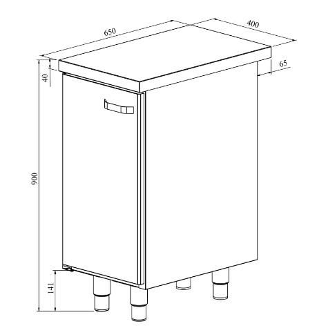 Alakaapilla varustetun Restmec UB KSK 400 teräspöydän mittapiirros.