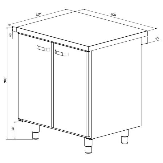 Pariovellisen teräspöydän mittapiirros. Ulkomitat: (l) 800 x (s) 650 x (k) 900 mm.