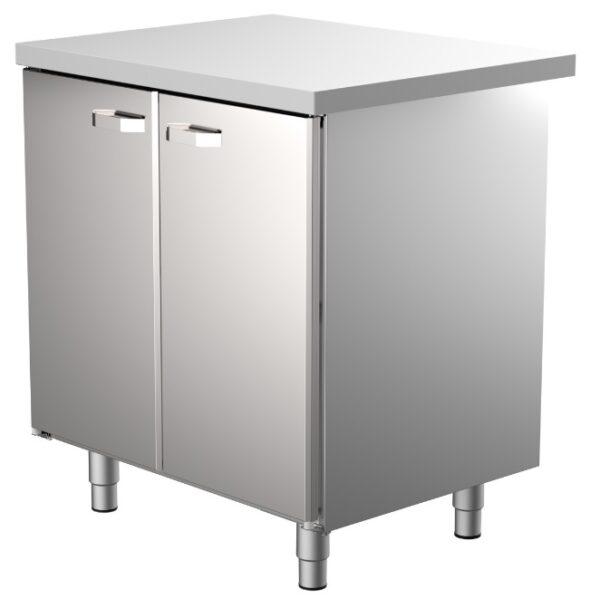 Teräspöytä alakaapilla Restmec UB KSK 800, pariovilla. Soveltuu ammattikeittiöihin