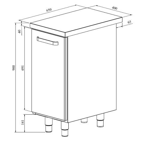 Teräspöytä vetolaatikolla Restmec UB KSK 401 mittapiirros. Vetolaatikko esimerkiksi roskikselle.