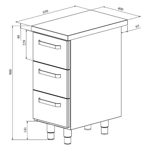 Ammattikeittiöihin tarkoitettu kapea teräspöytä vetolaatikoilla.