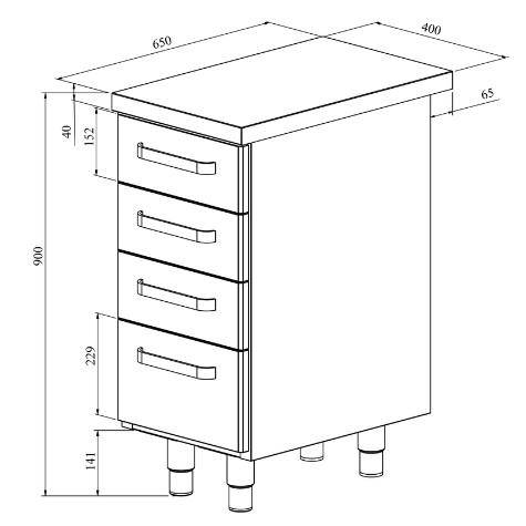 Ruostumattomasta teräksestä valmistettu työpöytä neljällä vetolaatikolla. Ulkomitat: (l) 400 x (s) 650 x (k) 900 mm.