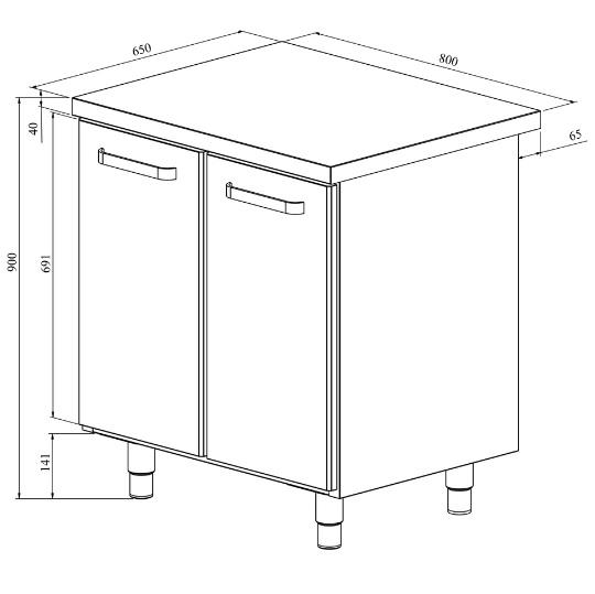 Ruostumattomasta teräksestä valmistettu työpöytä alakaapilla, jossa on pariovet.