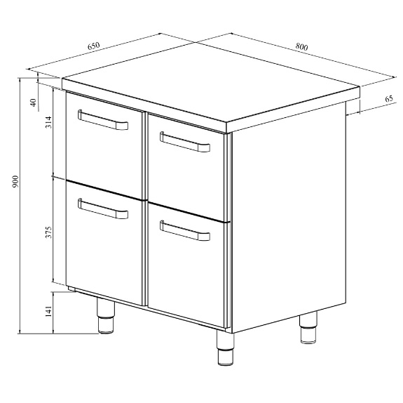 Teräspöytä vetolaatikoilla Restmec UB KSK 804 mittapiirros. Ulkomitat: (l) 800 x (s) 650 x (k) 900 mm.