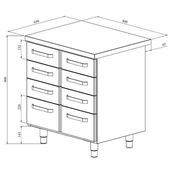 Ruostumattomasta teräksestä valmistettu työpöytä vetolaatikoilla Restmec UB KSK 808 mittapiirros