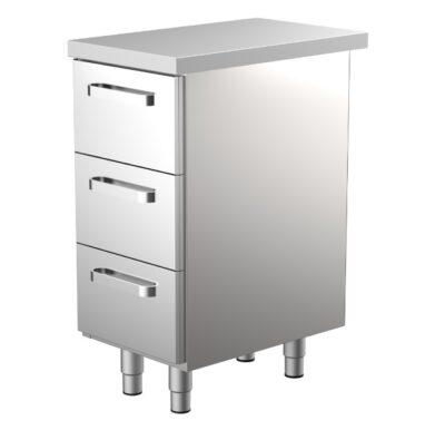 400 mm leveä työpöytä ravintolaan, jossa 3 kpl vetolaatikkoja