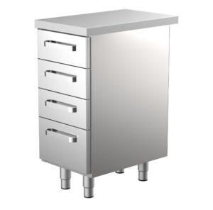 400 mm leveä työpöytä ammattikeittiöön, jossa 4 kpl vetolaatikkoja