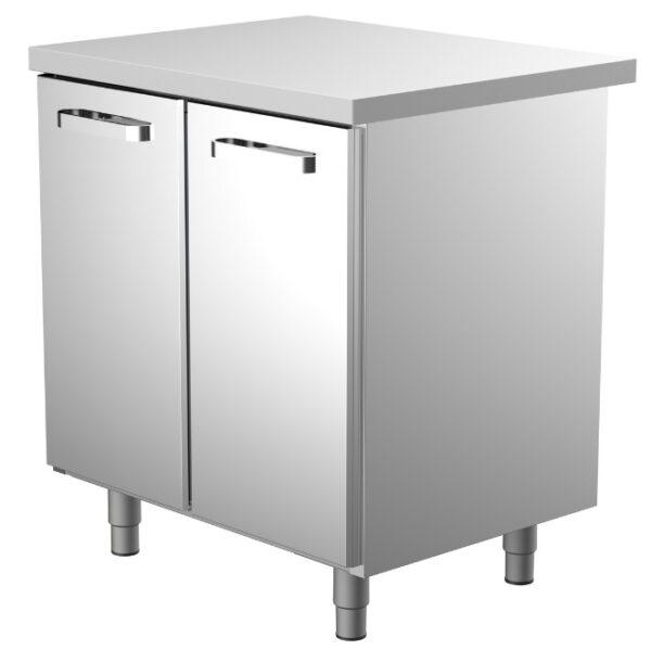 800 mm leveä työpöytä, jossa 2 kpl vetolaatikoita roska-astioille