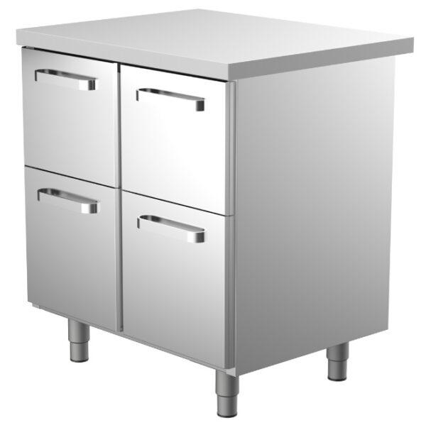 800 mm leveä työpöytä, jossa 4 kpl vetolaatikoita