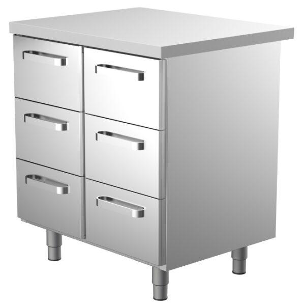 800 mm leveä ruostumattomasta teräksestä oleva työpöytä, jossa 6 kpl vetolaatikoita