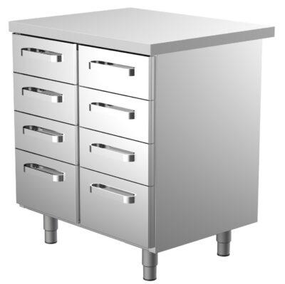 Ruostumattomasta teräksestä oleva 800 mm leveä työpöytä, jossa kahdeksan vetolaatikkoa