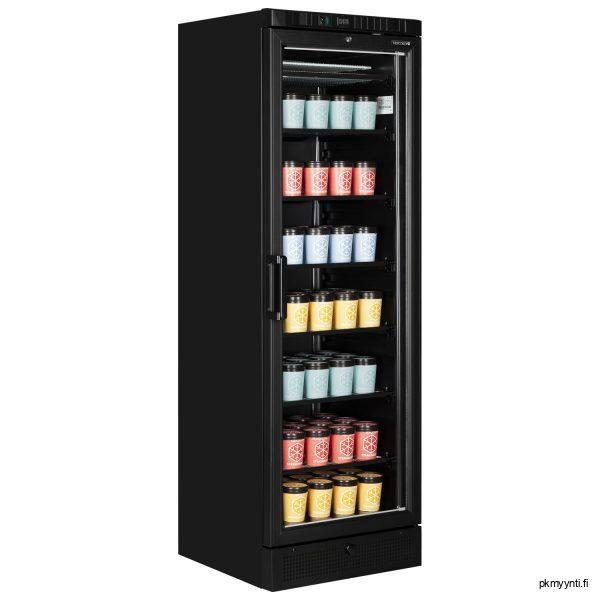 Lasiovipakastekaappi UFSC370G Black on musta lasiovellinen pakastekaappi, joka soveltuu ravintoloihin, kahviloihin, päivittäistavarakauppoihin ja baareihin.