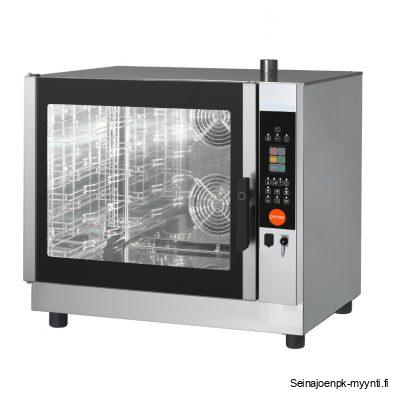 Primax yhdistelmäuuni ravintolakeittiöön, jossa kapasiteetti on 6 x GN 1/1. Johteille käy myös 600 x 400 mm mitoitetut leipomopellit.