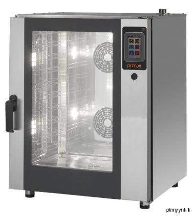 Primax Plus Gastro PG-DTE110-HD sopii ravintolaan, ammattikeittiöön, ruokalaan ja ruokakauppojen ateriavalmistukseen. Tässä monitoimiuuni on varustettu höyrykeitolla, kiertoilmapaistolla ja niiden yhdistelmäpaistolla.
